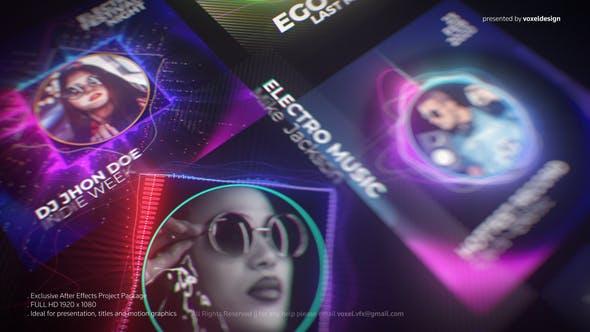 پروژه آماده افترافکت با موزیک معرفی خوانندگان DJ Artist Music Visualizer