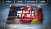 پروژه افترافکت با موزیک ساخت پرچم 3بعدی بدون پلاگین Unlimited 3D Flags