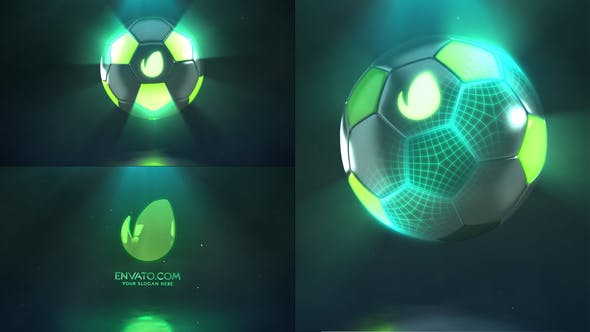 پروژه افترافکت لوگو با موزیک افکت توپ فوتبال Hi-Tech Soccer Logo Reveal