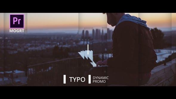 پروژه پریمیر با موزیک تیتراژ با افکت نوشتاری Dynamic Typo Promo Premiere Pro MOGRT