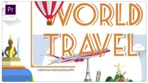 پروژه پریمیر با موزیک رزولوشن ۴K تبلیغات آژانس مسافرتی World Travel Titles Premiere Pro