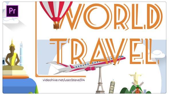 پروژه پریمیر با موزیک رزولوشن 4K تبلیغات آژانس مسافرتی World Travel Titles Premiere Pro