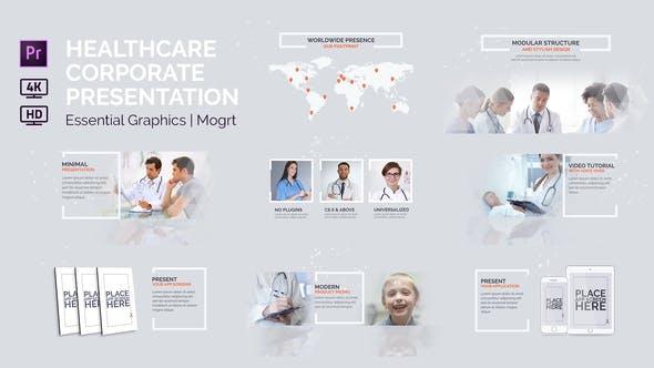 پروژه پریمیر با موزیک رزولوشن 4k موسسات بهداشتی Healthcare Corporate Presentation Essential Graphics Mogrt