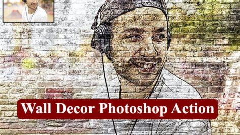 اکشن فتوشاپ تبدیل تصاویر به نقاشی روی دیوار Wall Decor Photoshop Action
