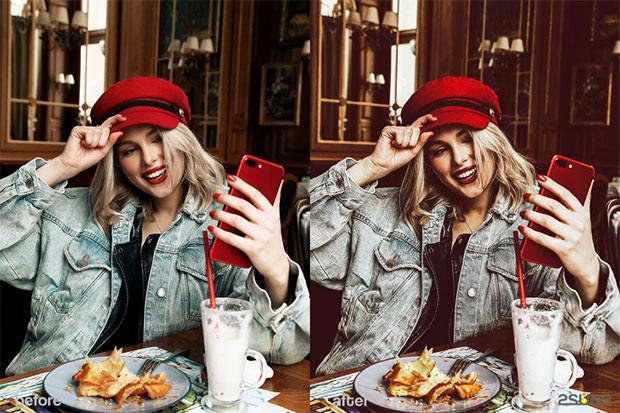 دانلود پریست لایت روم دسکتاپ و موبایل تم قرمز بلاگر Blogger red lightroom presets