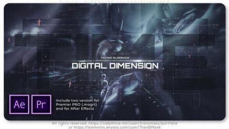 پروژه آماده پریمیر اسلایدشو با موزیک تم دیجیتال Digital Dimension Techno Slideshow