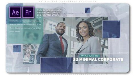 پروژه پریمیر با موزیک تبلیغات 3 بعدی معرفی شرکت 3D Minimal Corporate Slideshow