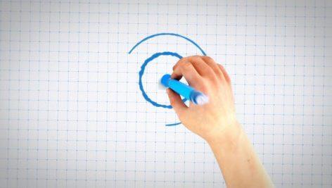 پروژه پریمیر با موزیک لوگو افکت طراحی دستی رنگی Hand Drawing Blueprint Logo Reveal