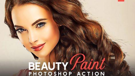 اکشن فتوشاپ افکت رتوش صورت و نقاشی Beauty Paint Photoshop Action