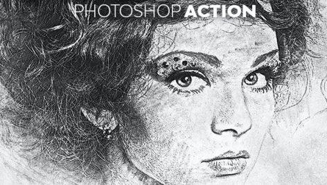 اکشن فتوشاپ افکت نقاشی با گچ Chalk Sketch Photoshop Action