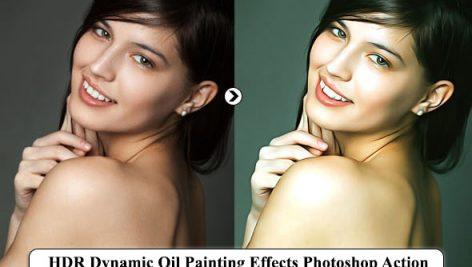 اکشن فتوشاپ HDR افکت نقاشی رنگ روغن HDR Dynamic Oil Painting Effects Photoshop Action