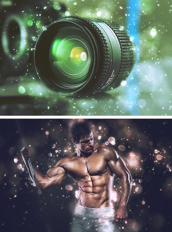 دانلود اکشن فتوشاپ افکت نقاط نورانی LensDust Photoshop Action