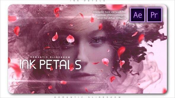 پروژه پریمیر اسلایدشو افکت جوهر و گلبرگ Ink Petals Romantic Slideshow