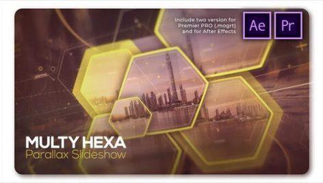 پروژه پریمیر اسلایدشو با موزیک افکت پارالاکس 6 ضلعی Parallax Slideshow Multi Hexa