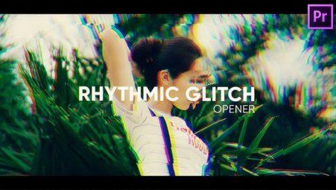 پروژه پریمیر اسلایدشو با موزیک افکت گلیچ Rhythmic Glitch Opener for Premiere Pro