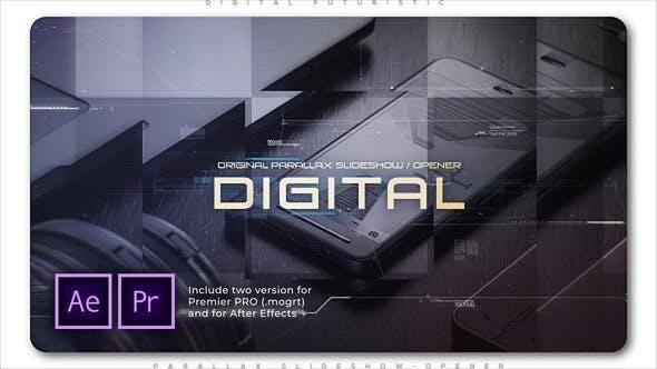 پروژه پریمیر اسلایدشو با موزیک تم دیجیتالی مدرن Digital Futuristic Parallax Slideshow