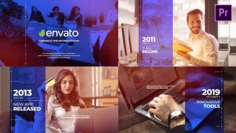 پروژه پریمیر با موزیک تاریخچه شرکت Corporate Timeline Presentation Mogrt