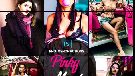 اکشن فتوشاپ تم رنگ صورتی Pinky Mood Photoshop Actions
