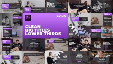 تایتل آماده پریمیر رزولوشن 4K پکیج 20 عددی Clean Big Titles Lower Thirds Mogrt
