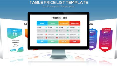 قالب آماده پاورپوینت جدول قیمت Price List Table for Powerpoint Template