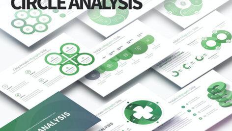 قالب حرفه ای پاورپوینت آنالیز تم دوار Circle Analysis PowerPoint Infographics Slides