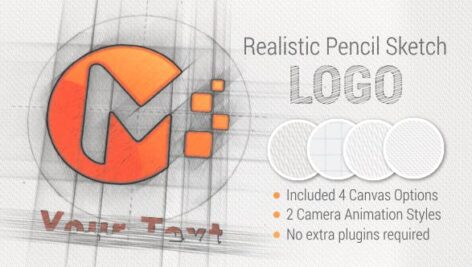 پروژه افتر افکت با موزیک نمایش لوگو طرح سیاه قلم Pencil Sketch Logo