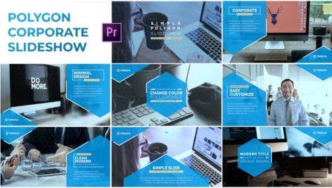 پروژه پریمیر با موزیک معرفی شرکت تم چند ضلعی Simple Polygon Corporate Slideshow Premiere Pro
