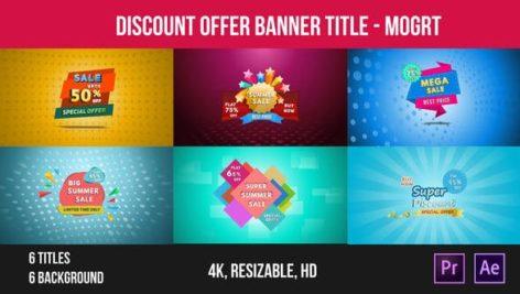 6 تایتل آماده پریمیر رزولوشن 4K مخصوص تخفیف فروشگاهی Discount Offer Banner Title Mogrt