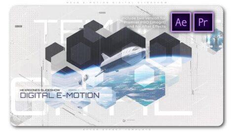 پروژه آماده پریمیر معرفی شرکت با موزیک تم 6 ضلعی Hexa E Motion Digital Slideshow