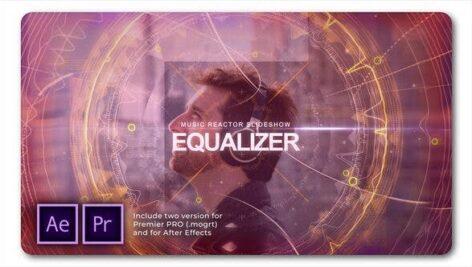 پروژه آماده پریمیر معرفی گروه موزیک بهمراه موزیک پروژه Equalizer Music Reactor Slideshow