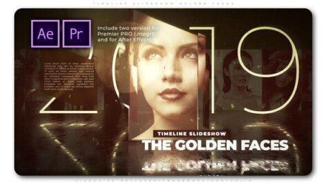 پروژه اسلایدشو آماده پریمیر تم طلایی Timeline Slideshow Golden Faces