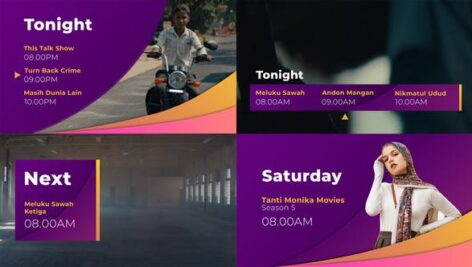 پروژه پریمیر معرفی برنامه تلویزیون Gradient Broadcast Package Essential Graphics