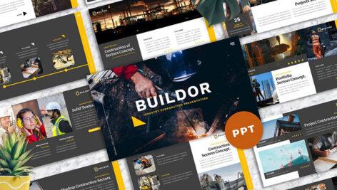 تم آماده پاورپوینت تم صنعت Buildor Industrial PowerPoint Design