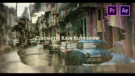پروژه پریمیر اسلایدشو با موزیک افکت شیشه باران زده Cinematic Rain Slideshow
