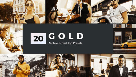 پریست لایت روم و پریست کمرا راو و لات رنگی تم طلایی Gold Lightroom Presets and LUTs