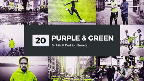 پریست لایت روم و پریست کمرا راو و لات رنگی سبز Purple & Green Lightroom Presets