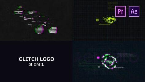 3 پروژه لوگو پریمیر با موزیک افکت نویز و قطعی گلیچ Glitch Logo Pack