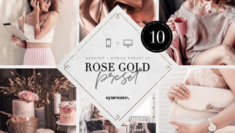 10 پریست لایت روم دسکتاپ و موبایل تم رز طلایی Rose Gold Lightroom Presets Bundle