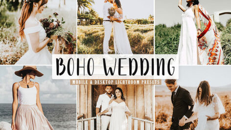 40 پریست لایت روم و Camera Raw و اکشن فتوشاپ عروسی Boho Wedding Lightroom Presets