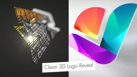 پروژه آماده افتر افکت با موزیک لوگو 3 بعدی Clean 3D Logo Reveal