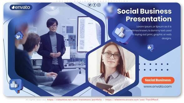 پروژه افتر افکت با موزیک معرفی شرکت و جوامع مجازی Social Business Presentation