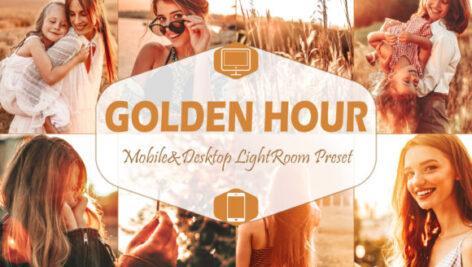 پریست لایت روم دسکتاپ و موبایل تم زمان طلایی Golden Hour Lightroom Presets Graphic