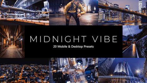 20 پریست لایت روم و پریست کمرا راو و لات رنگی تم شب Midnight Vibes LR Presets