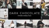 20 پریست لایت روم و پریست کمرا راو و لات رنگی شکلاتی تیره Dark Chocolate LR Presets