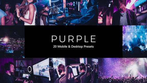 20 پریست لایت روم و پریست کمرا راو و لات رنگی تم ارغوانی بنفش Purple Lightroom Presets & LUTs