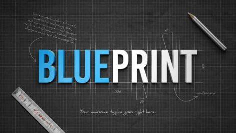 پروژه آماده افتر افکت با موزیک لوگو افکت پرینت Blueprint Reveal