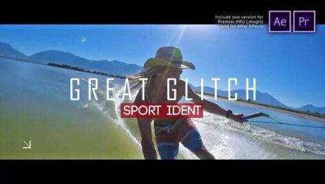 پروژه آماده پریمیر اسلایدشو اکشن با موزیک Sport Ident Glitch Slideshow