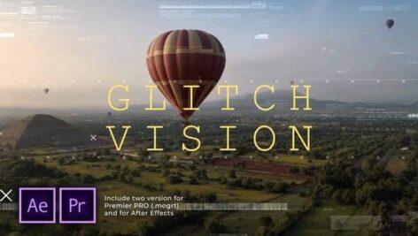 پروژه آماده پریمیر اسلایدشو با موزیک افکت نویز و گلیچ Glitch Vision Slideshow