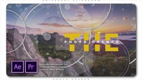 پروژه آماده پریمیر اسلایدشو با موزیک افکت پارالاکس دایره Universal Slideshow Photo Opener