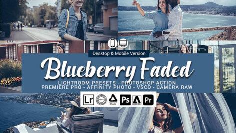 20 پریست لایت روم حرفه ای تم آبی بلوبری Blueberry faded Presets